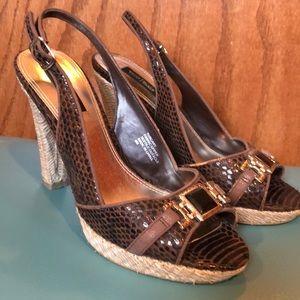 Classic chocolate jewel, embossed heels